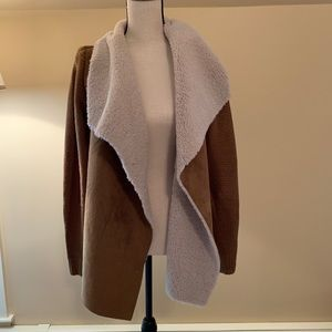 Faux suede and faux fur open front sweater